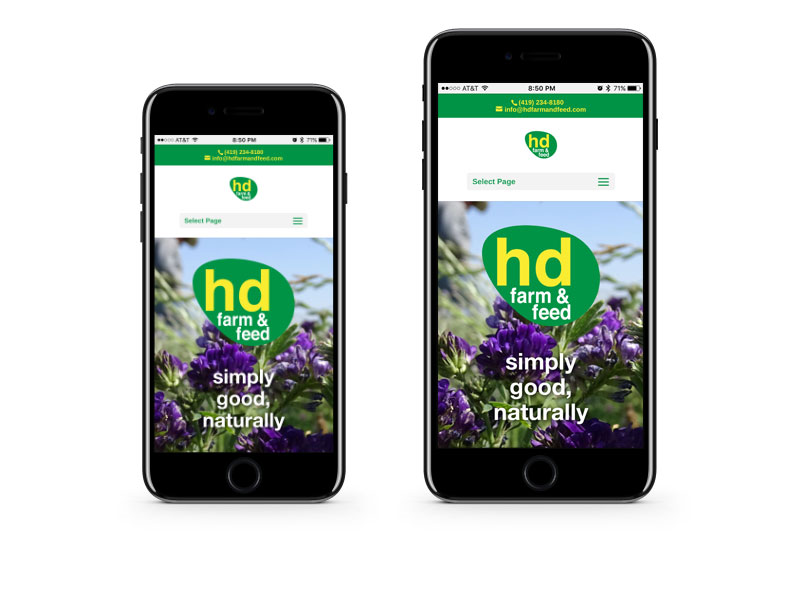hd Farm & Feed website on the iPhone