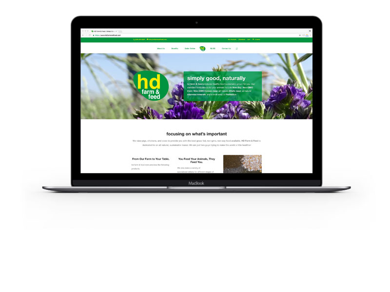 hd Farm & Feed website on MacBook Pro