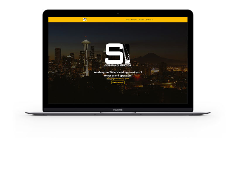 Seaburg Construction website on a Laptop by Bill Hanson Design