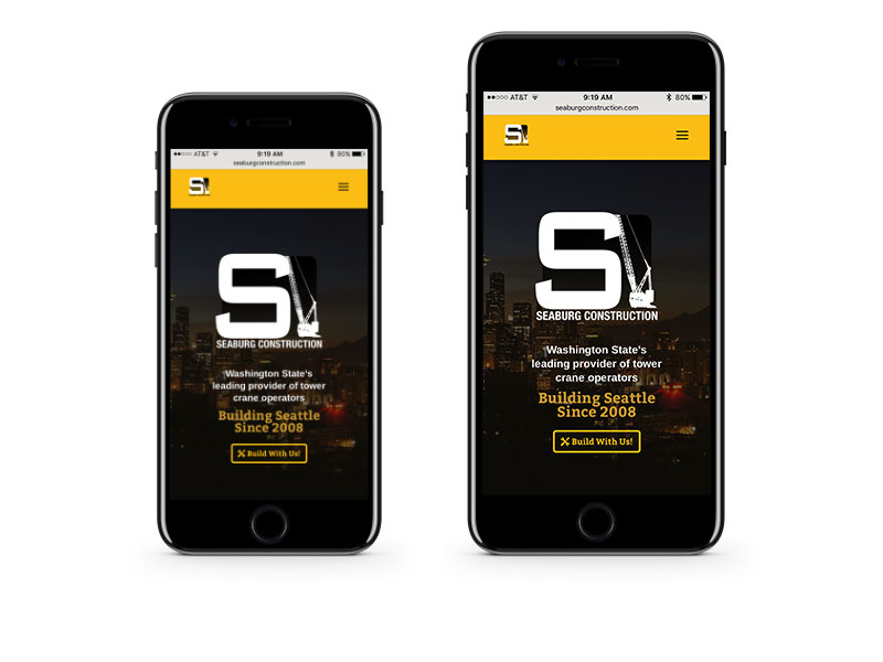 Seaburg Construction website on a iPhones by Bill Hanson Design